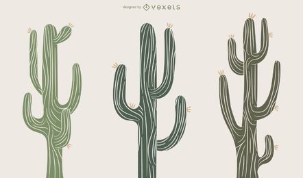 Conjunto de ilustração de planta de cacto