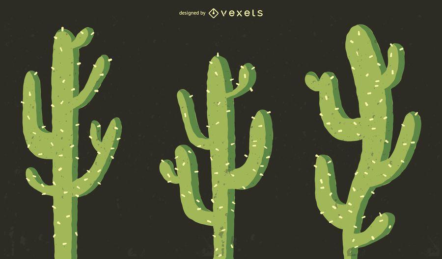 Cactus illustration set