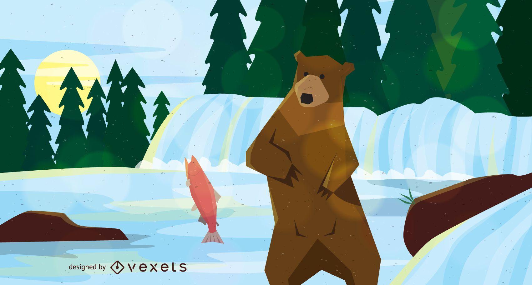 Bear hunting fish illustration