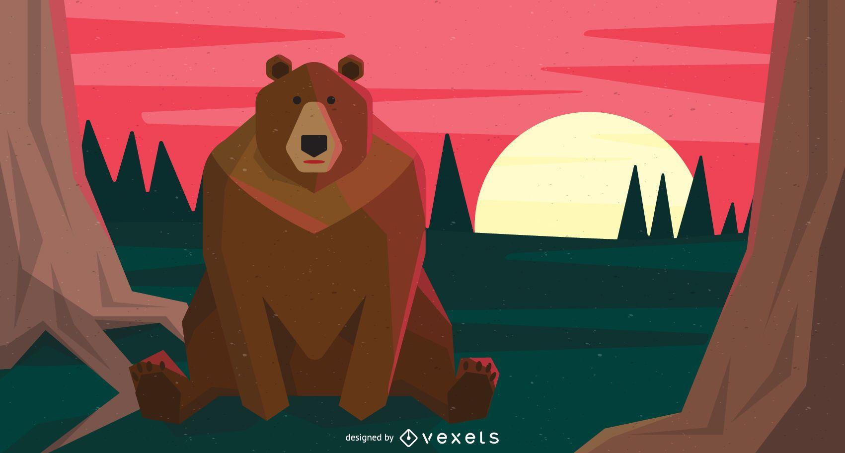Sitting brown bear illustration