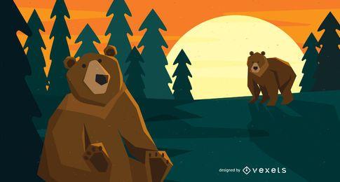 Bosque, osos, ilustración