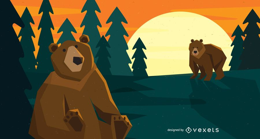 Forest bears illustration