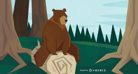 Bear sitting on tree illustration