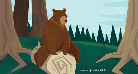 Urso sentado na ilustração da árvore