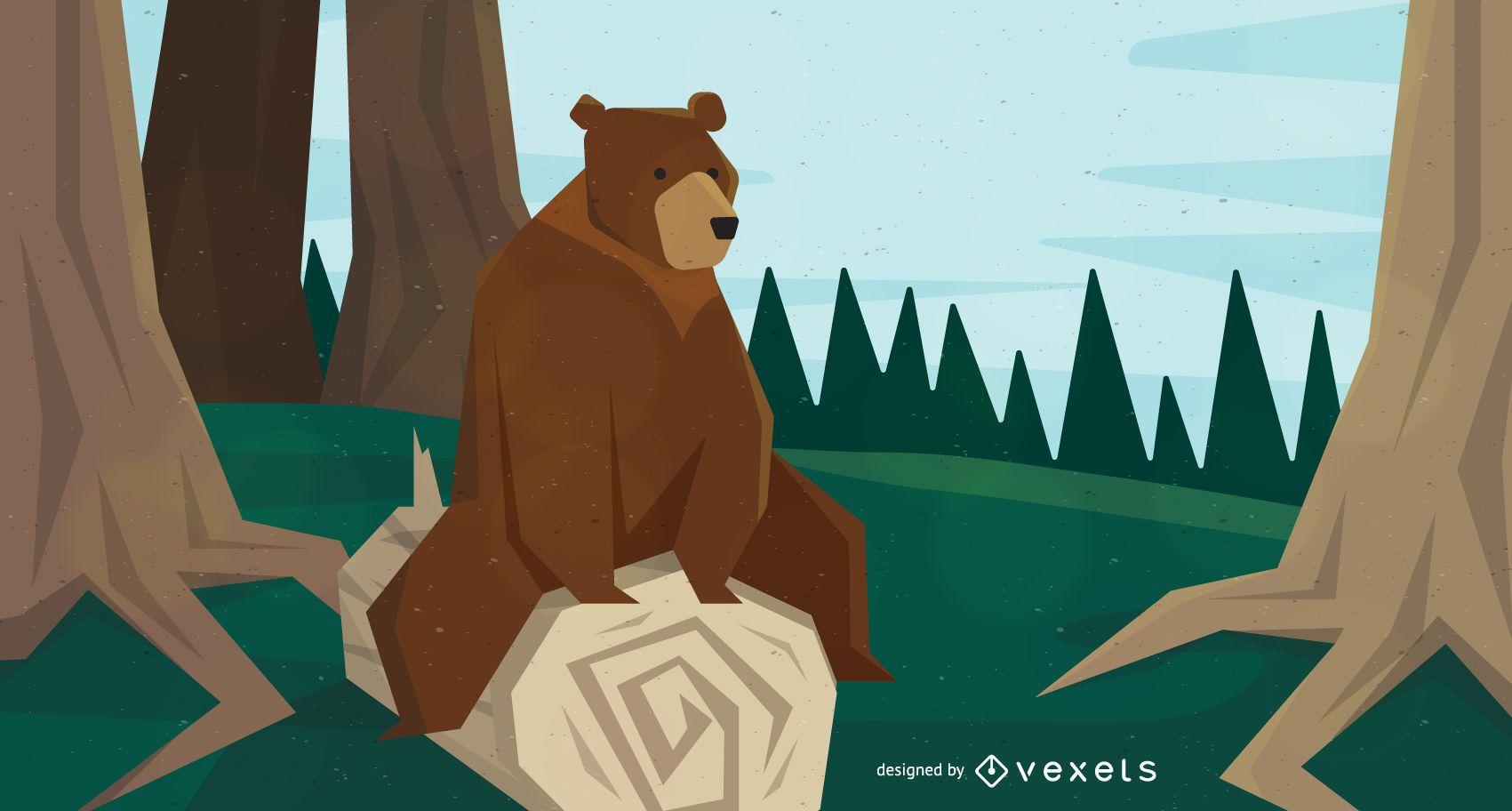Bear sitting on tree illustration