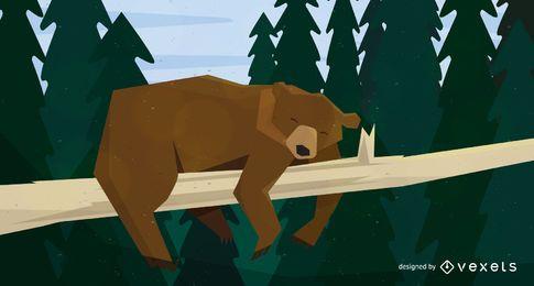 Ilustração de urso dormindo na árvore