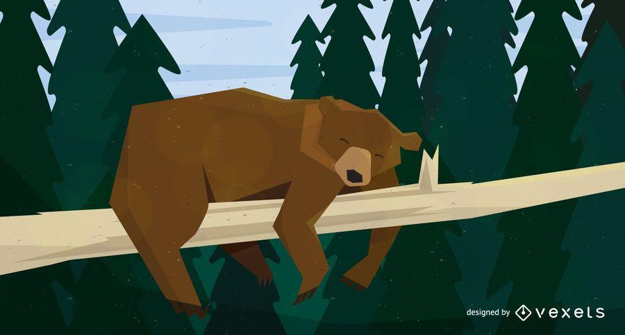 Bear sleeping on tree illustration