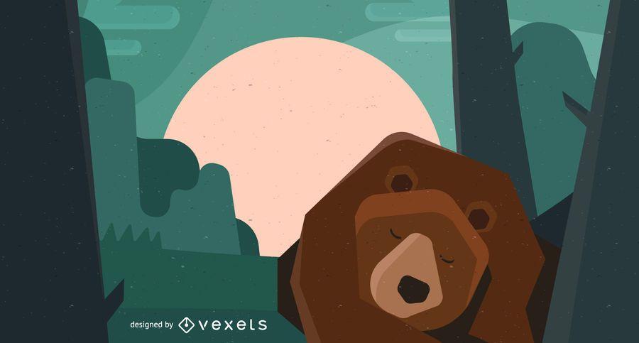Sleeping bear illustration