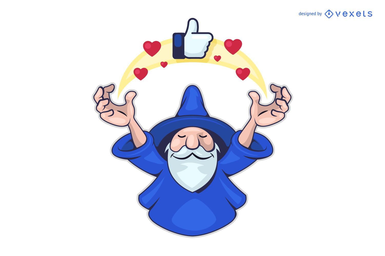 Social media wizard logo