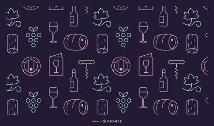 Patrón de elementos del vino