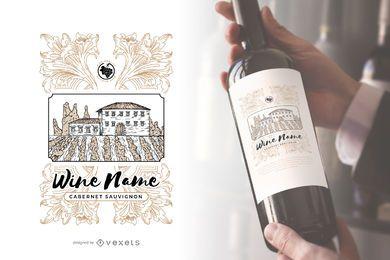 Etiqueta de botella de vino de viñedo
