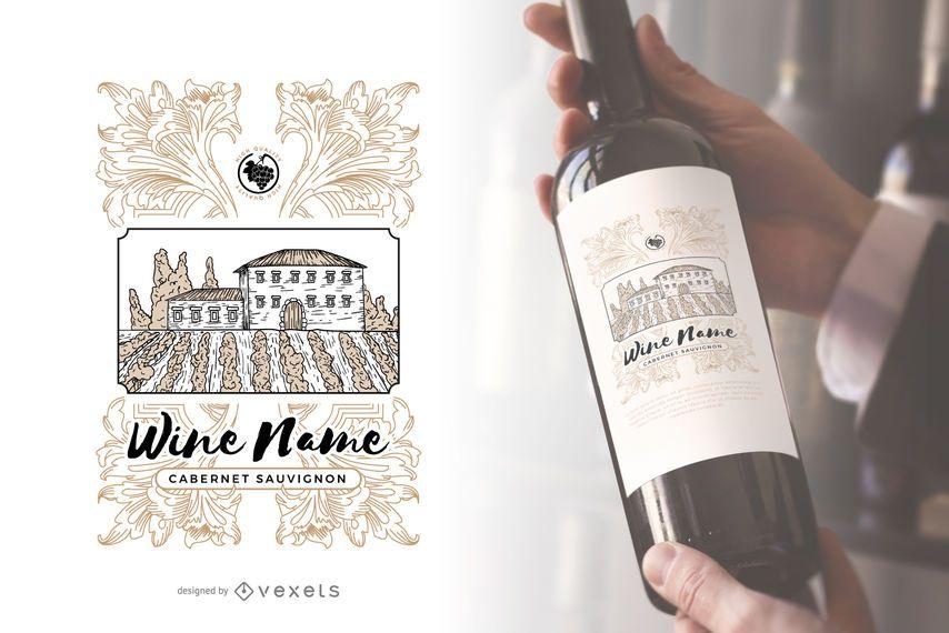Rótulo de garrafa de vinho de vinhedo