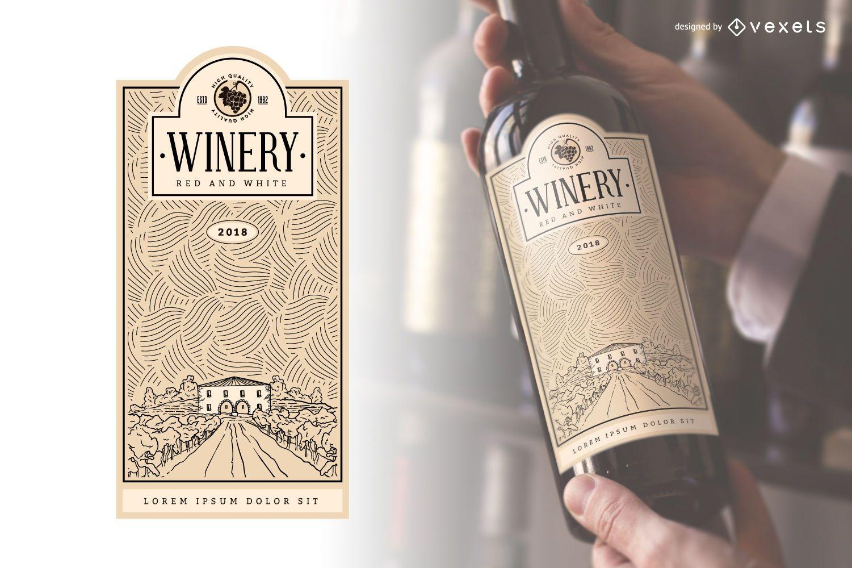 Etiqueta de botella de vino de bodega