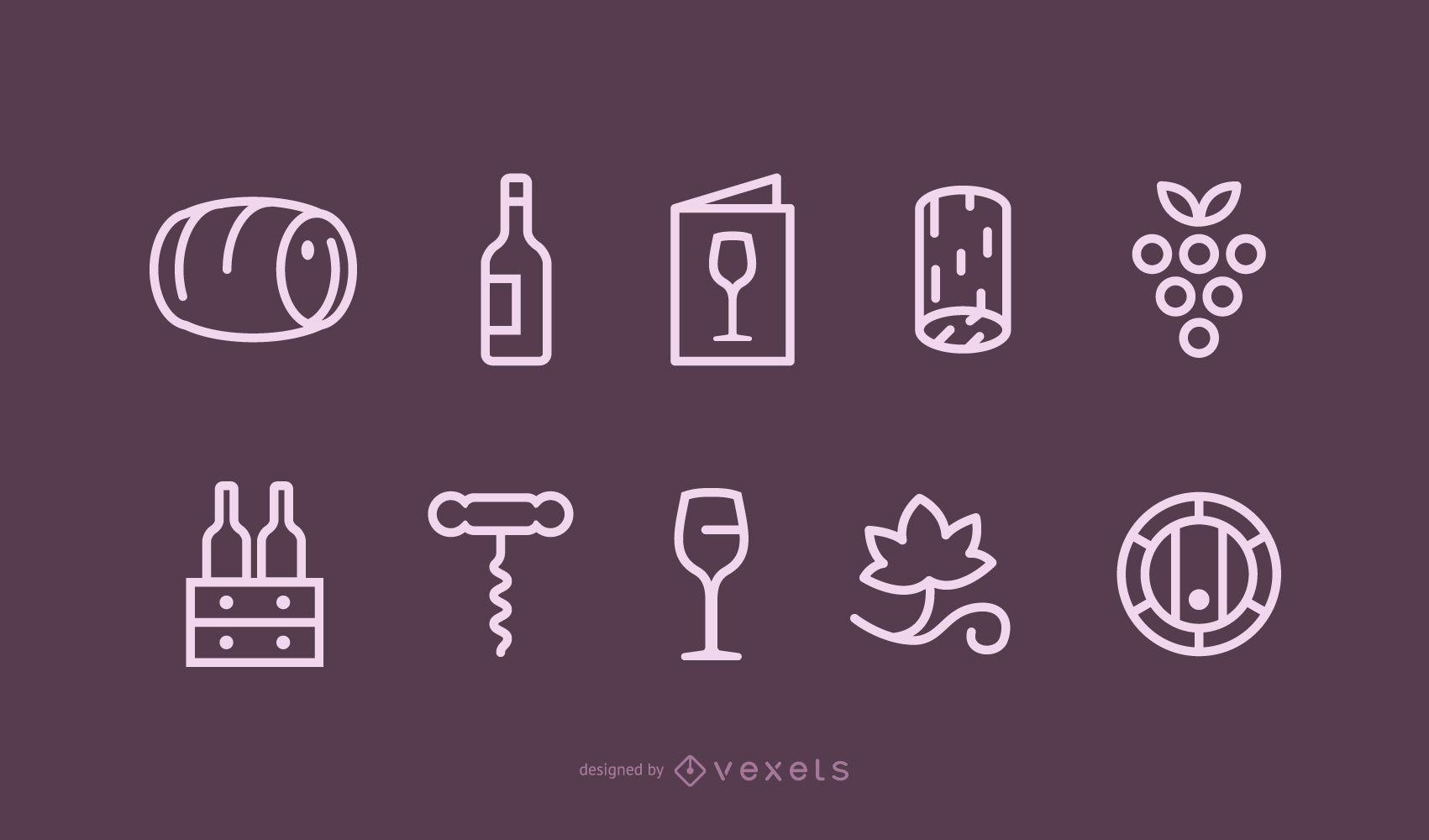 Conjunto de iconos de vino