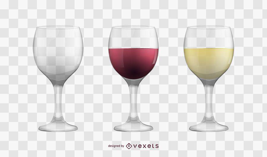 Conjunto de copos de vinho