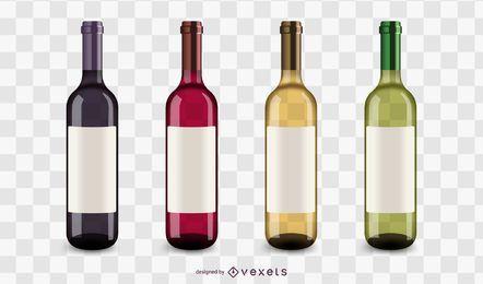 Conjunto de iconos de botellas de vino