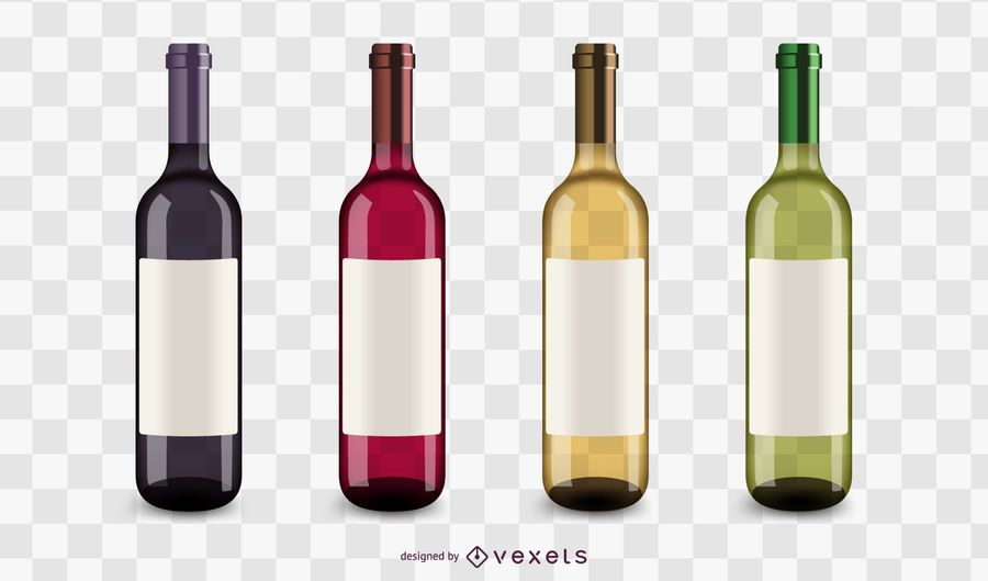 Wine bottles icons set