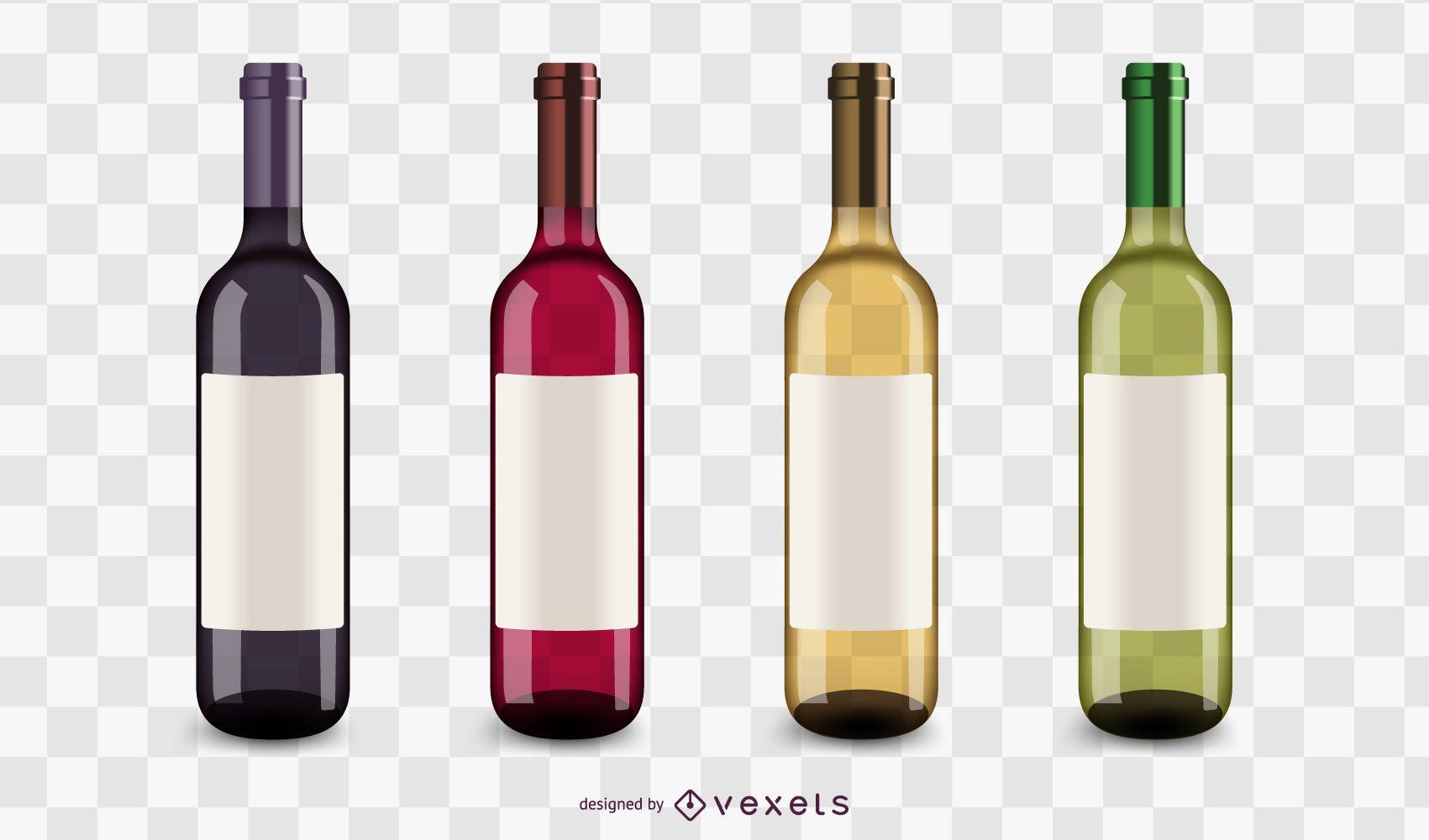 Wine bottles icons set
