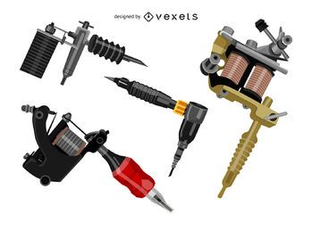 Tattoo machines illustration set