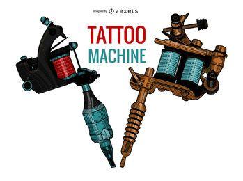 Ilustração de máquinas de tatuagem