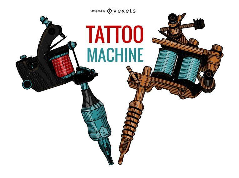 Tattoo machines illustration