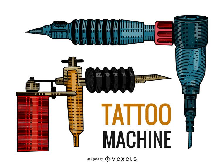 Tattoo guns illustration