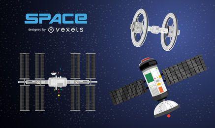Conjunto de ilustração de satélites espaciais