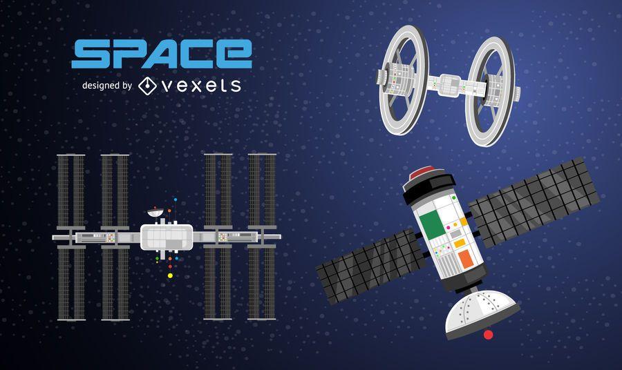 Space satellites illustration set