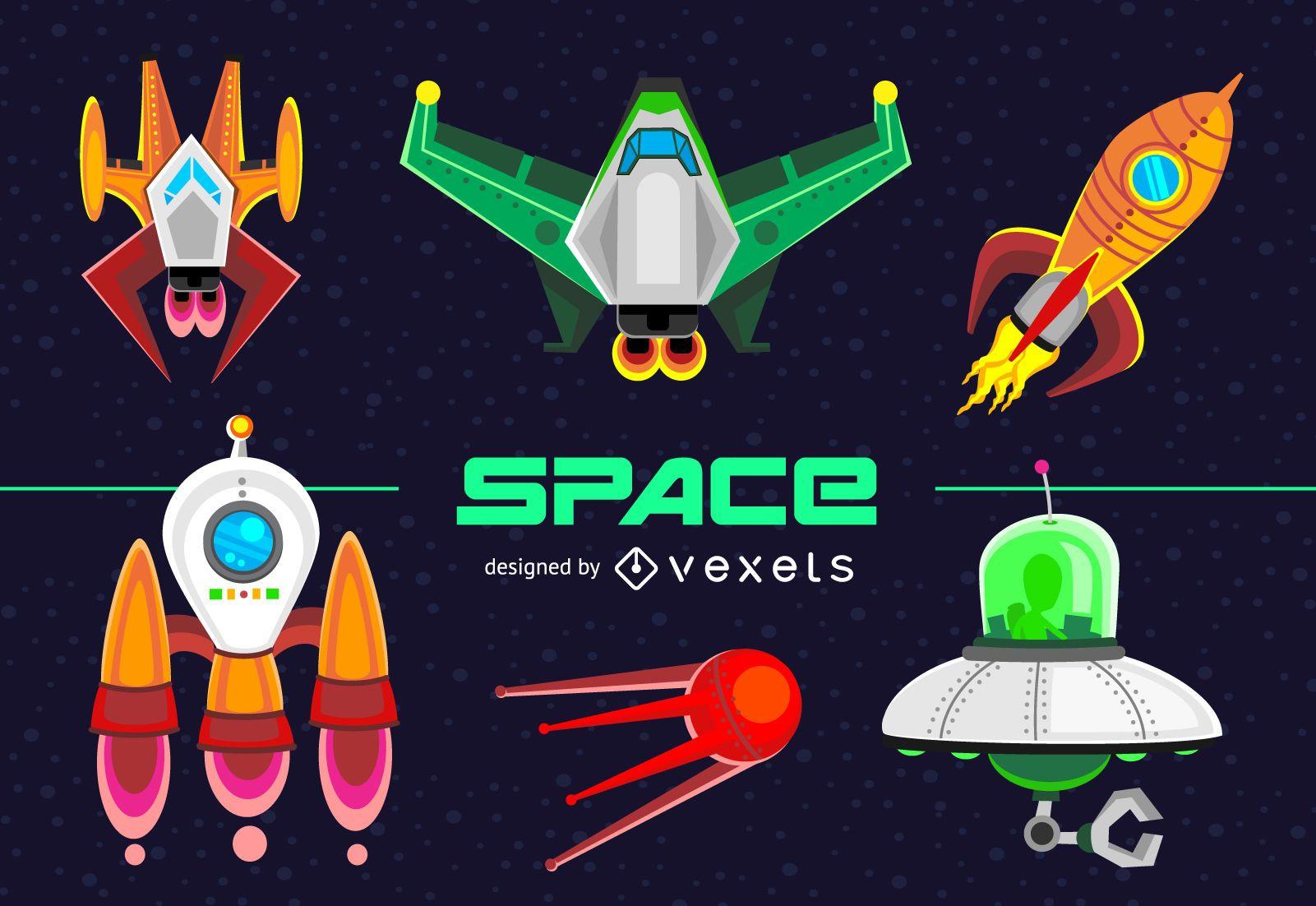 Conjunto de ilustración de naves espaciales y naves espaciales