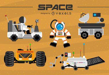 Conjunto de vehículos de exploración espacial.