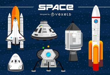 Conjunto de ilustraciones de naves espaciales