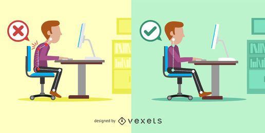 Ilustración de posturas de sentado derecho