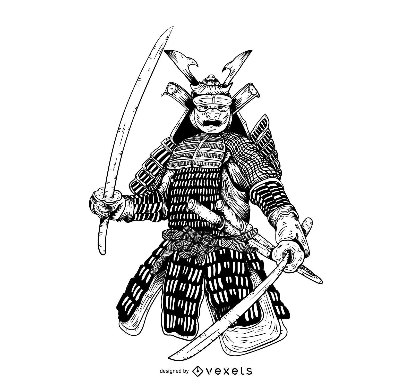 Ilustraci?n gr?fica dibujada a mano samurai