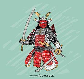 Ilustración colorida de la armadura del samurai