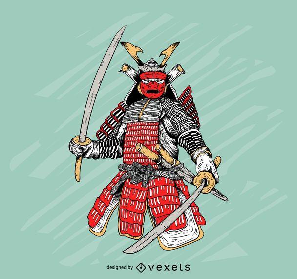 Ilustração de armadura de samurai colorido