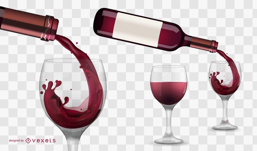 Vinho, despejar, ilustração
