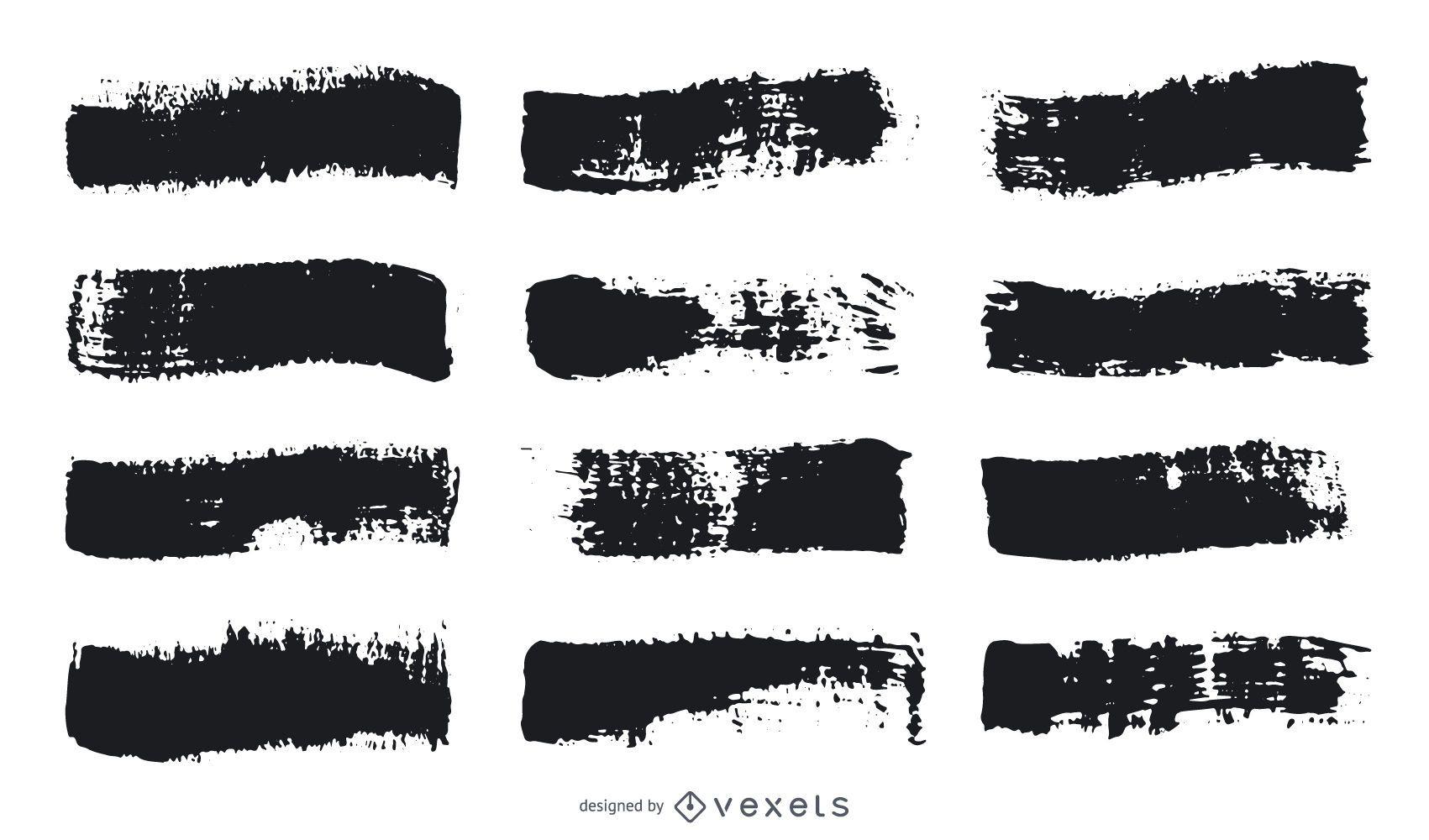 Paint brush stroke set