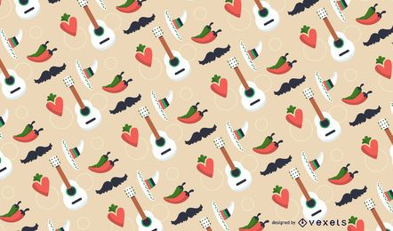 Mexican element seamless pattern