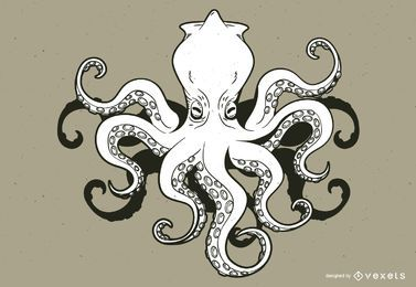 Kraken monster cartoon