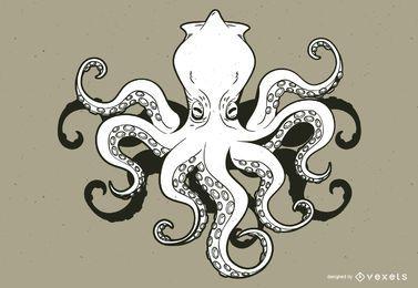 Kraken monster cartoon
