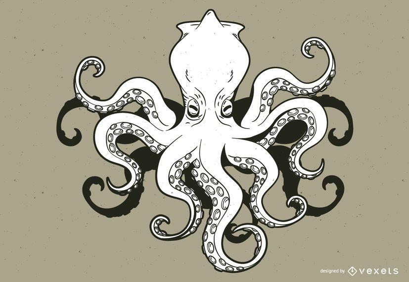 Kraken monstruo de dibujos animados