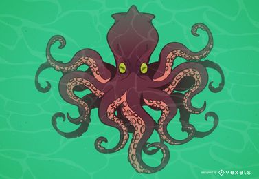 Octopus monster cartoon