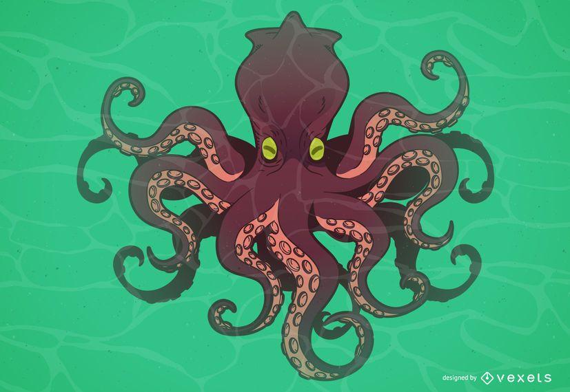 Octopus monster cartoon