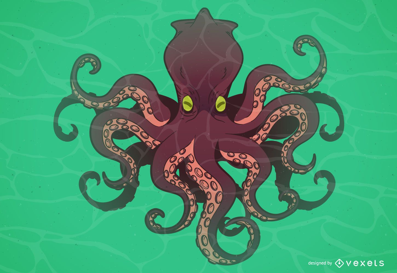 Dibujos animados de monstruo pulpo