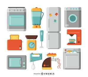 Kitchen appliances illustration set