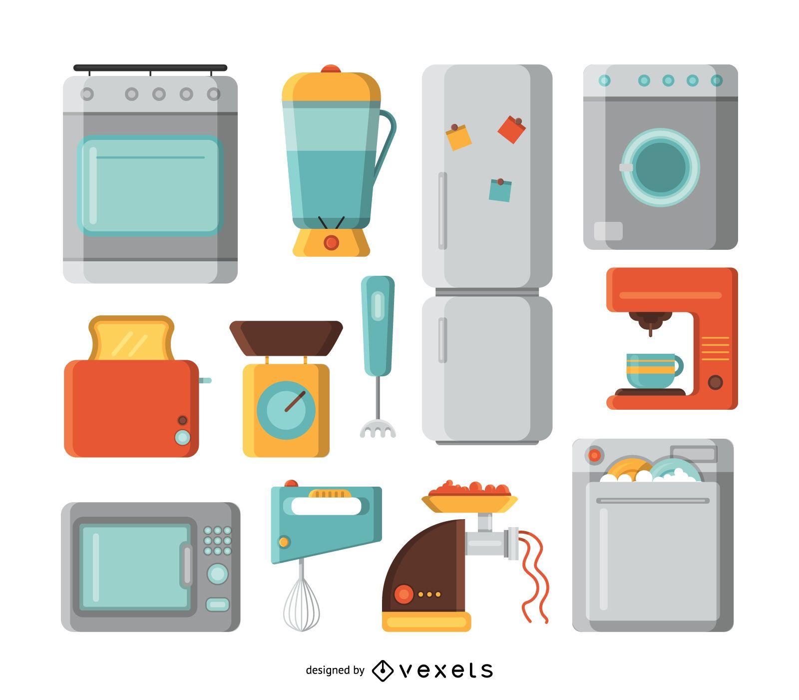 Conjunto de ilustración de electrodomésticos de cocina