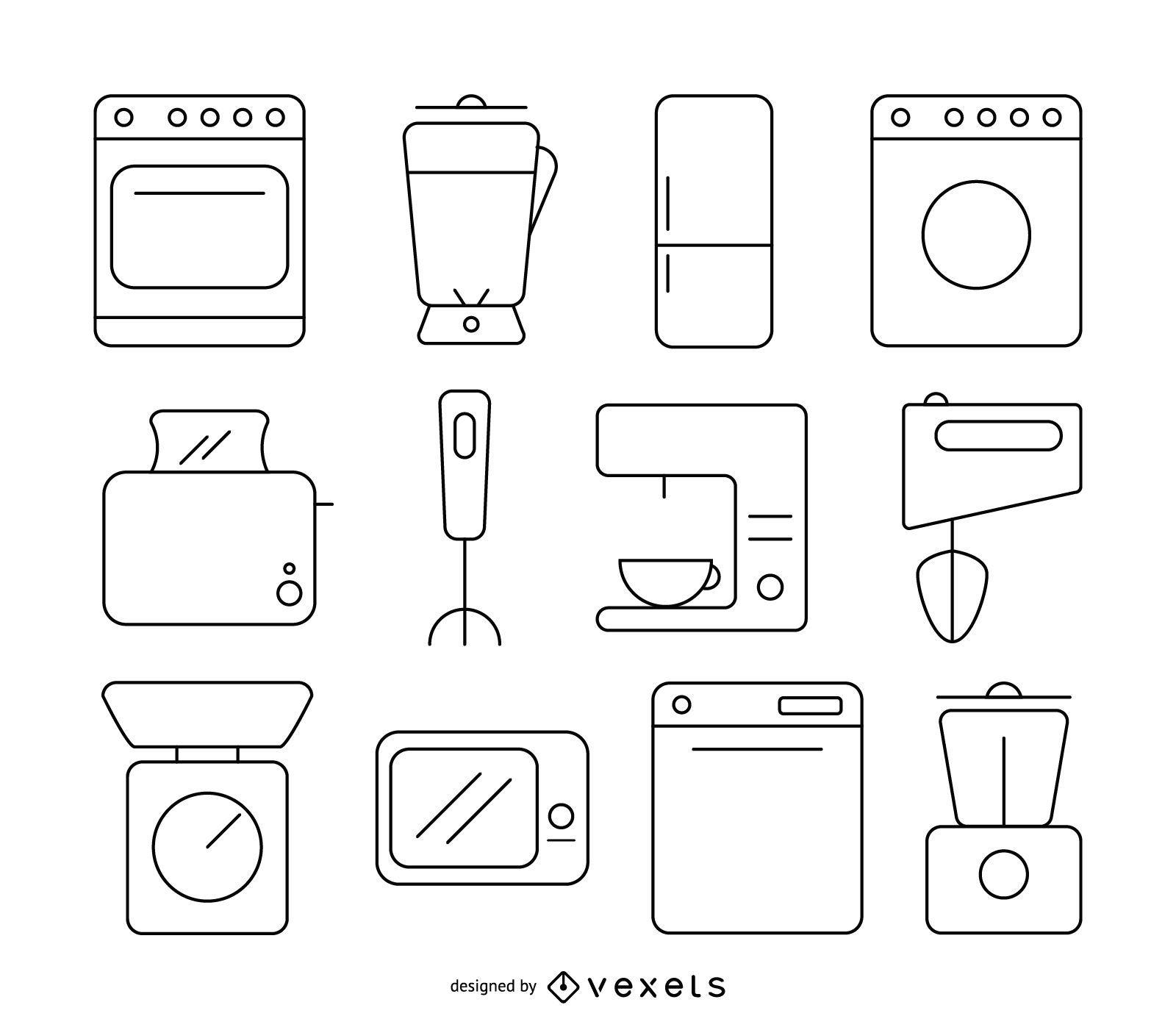 Conjunto de iconos de cocina stoke