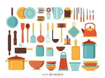 Kitchen tools illustration set