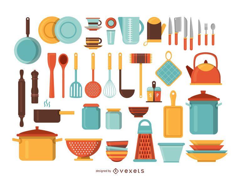 Kitchen tools illustration set