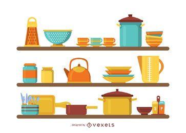 Cozinha, prateleiras, ilustração
